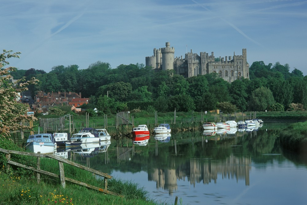 View along the River Arun toward Arundel Castle from Arundel, West Sussex, England.