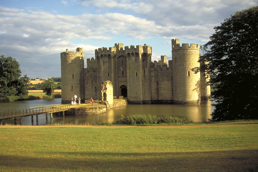 Bodiam Castle and moat, , East Sussex, England.