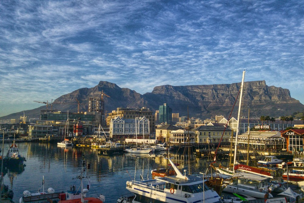 harbor of Cape Town, South Africa with boats and table mountain