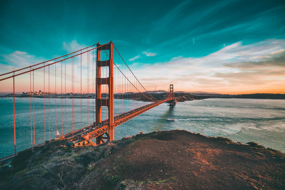 Golden Gate Bridge, San Francisco, California at sunset