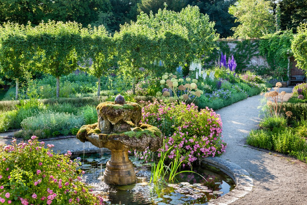 The fountain in the Walled Garden, Highgrove, July 2013.