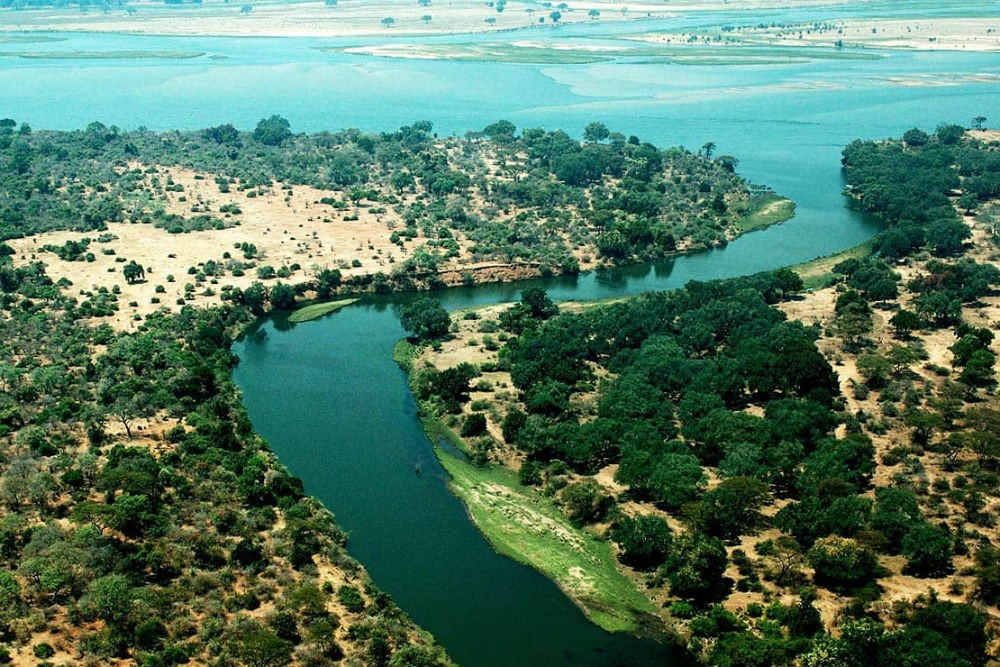 An aerial view of Lower Zambezi National Park, Zambia. Photo: Lower Zambezi National Park