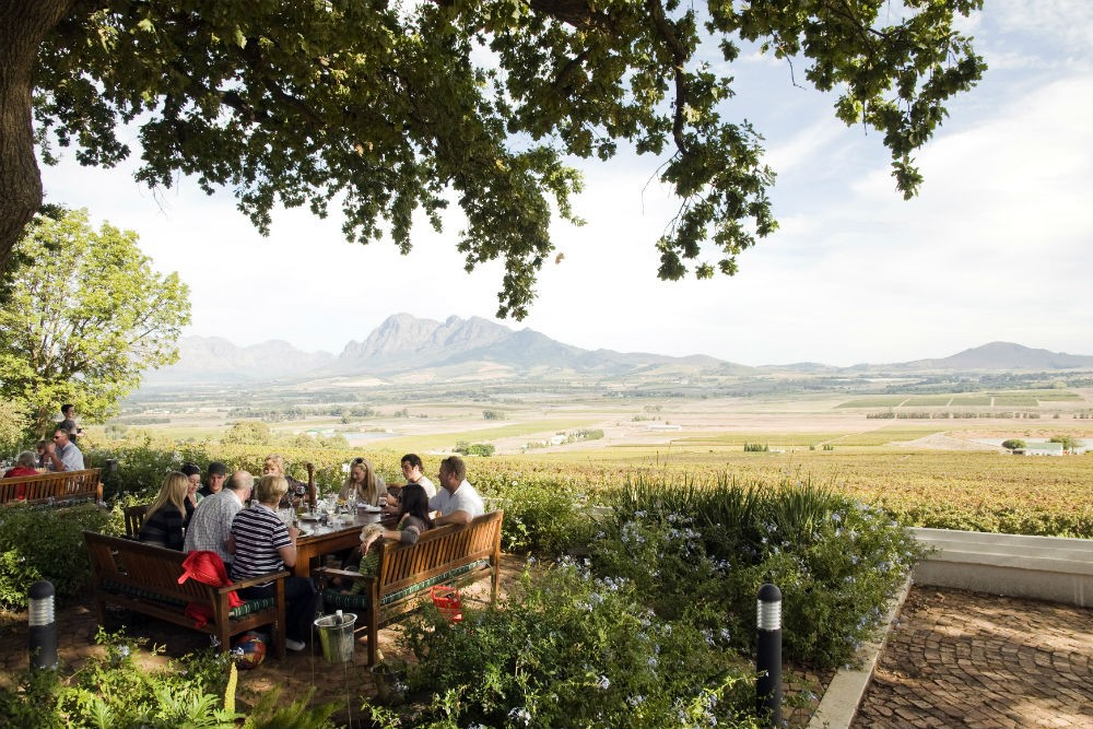 Restaurant in the garden of Spice Route wine estate, Cape Wine Route, Paarl, Western Cape Province, South Africa. Photo: South Africa Tourism