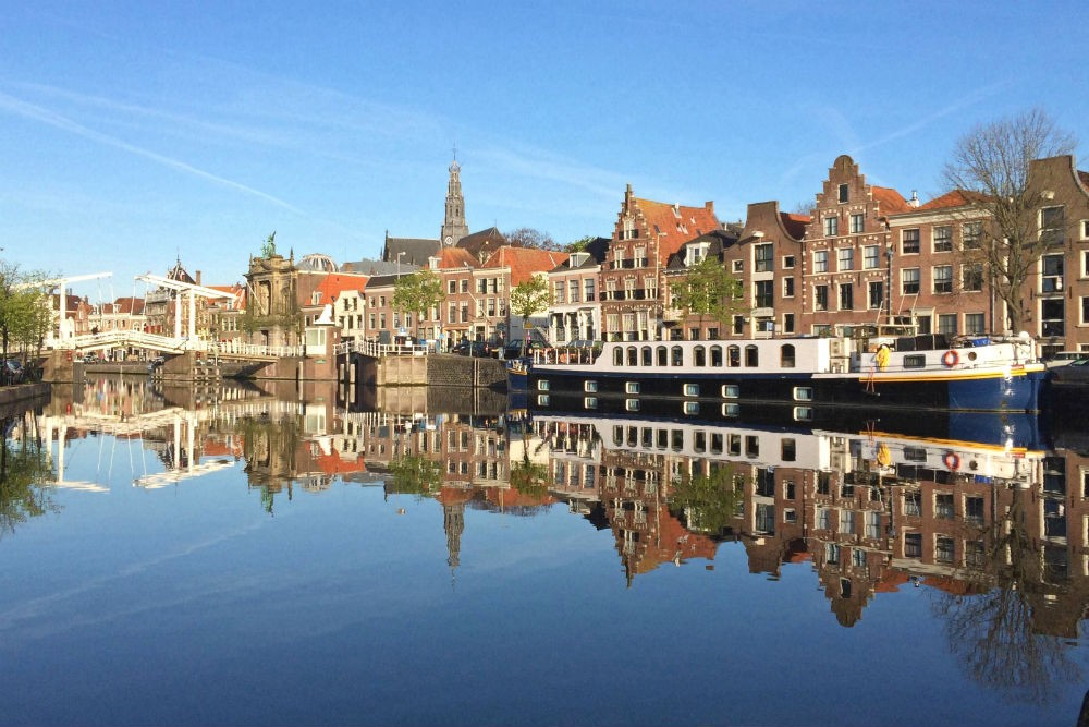 a canal barge moored in Haarlem Netherlands