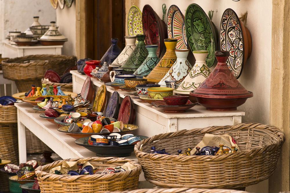 tajines in a market in Morocco