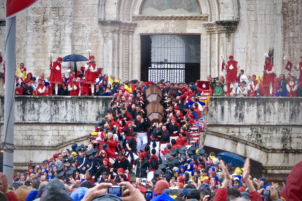 The Corsa dei Ceri festival in Gubbio, Umbria, Italy