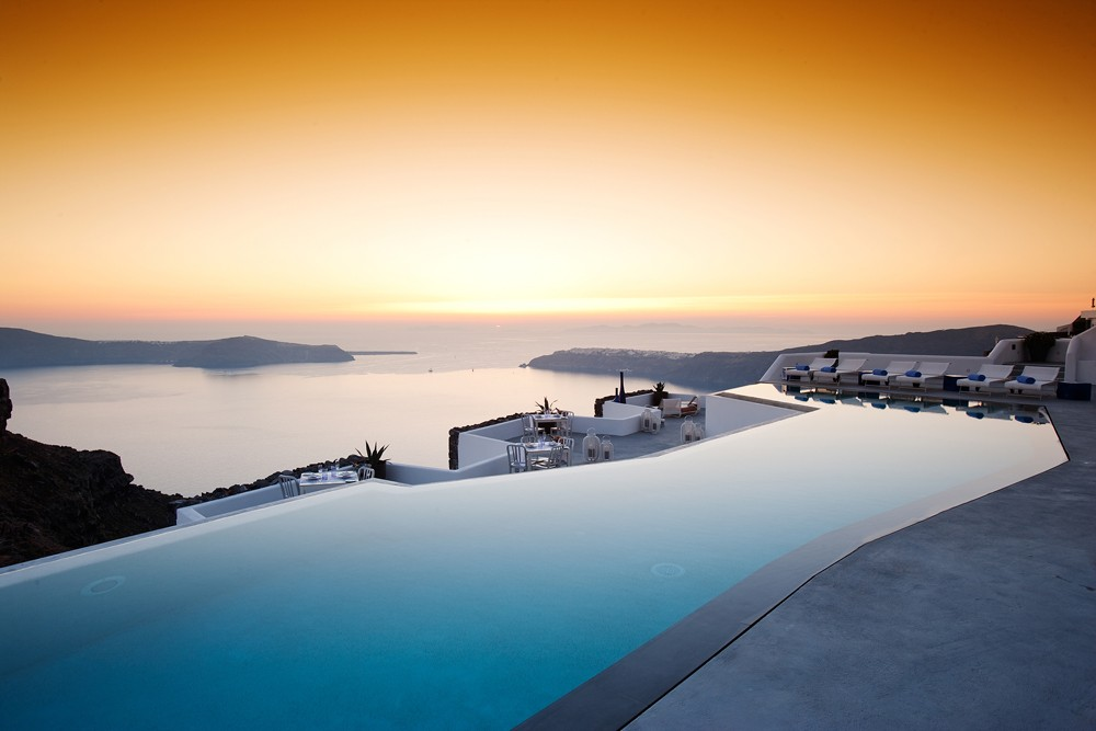Sunset in Santorini from the Grace Santorini Hotel