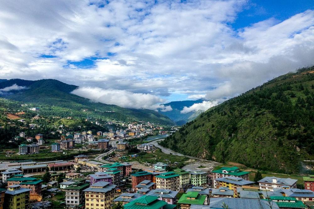 aerial view of Bhutan village
