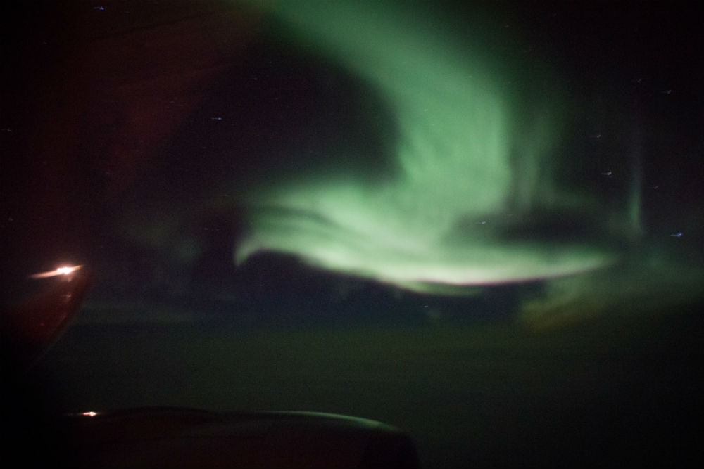 northern lights photographed from airplane