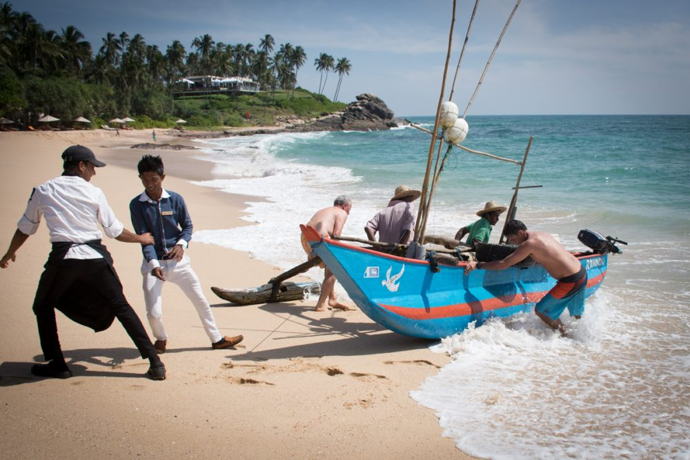 fishing boat at Anantara Peace Haven Resort in Tangalle, Sri Lanka