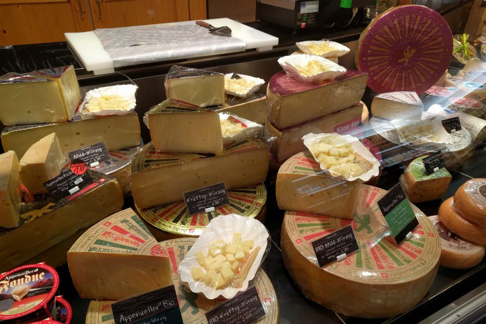 Variety of Appenzeller cheeses in switzerland
