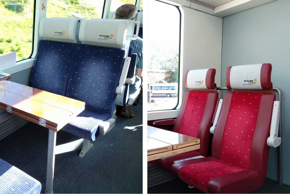 comparison of first and second class seats on Glacier Express train in Switzerland