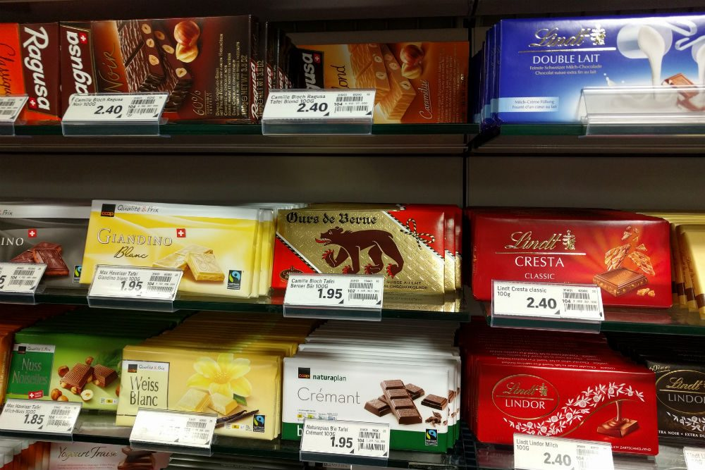 Swiss chocolate bars in grocery store in Switzerland