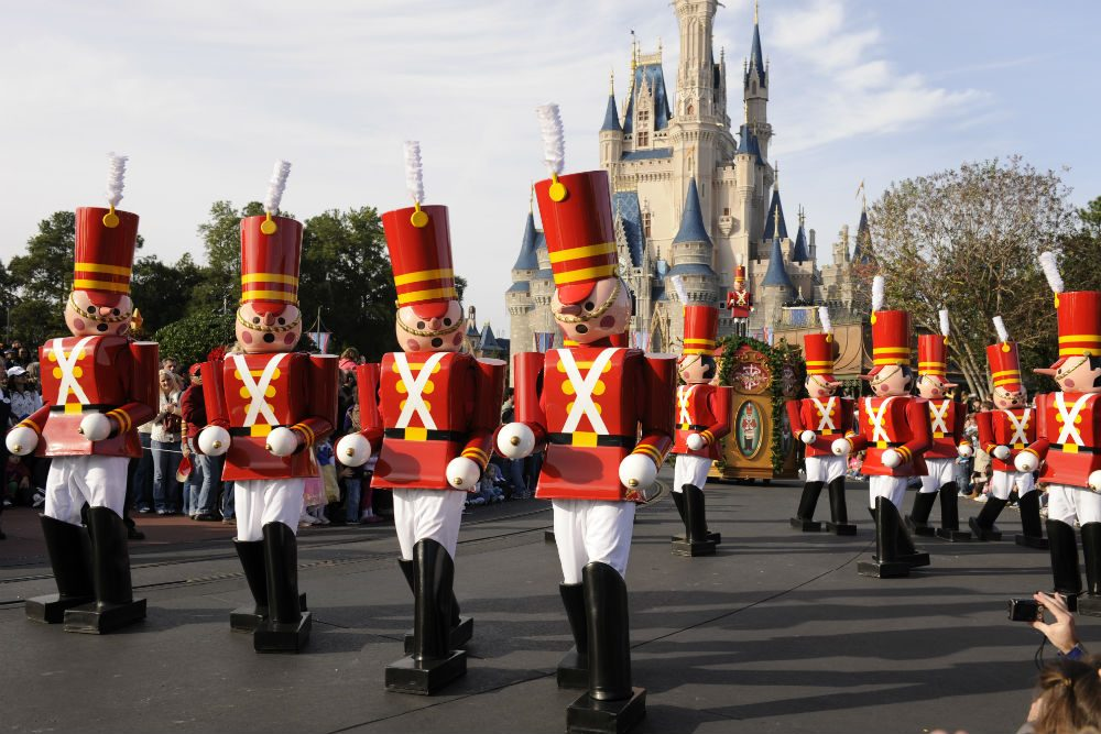 Toy soldiers marching at Disney park at Christmas