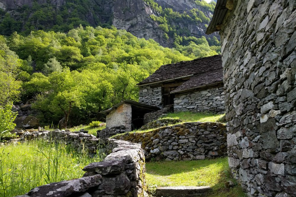 Valle Bavona stone village Ticino Switzerland