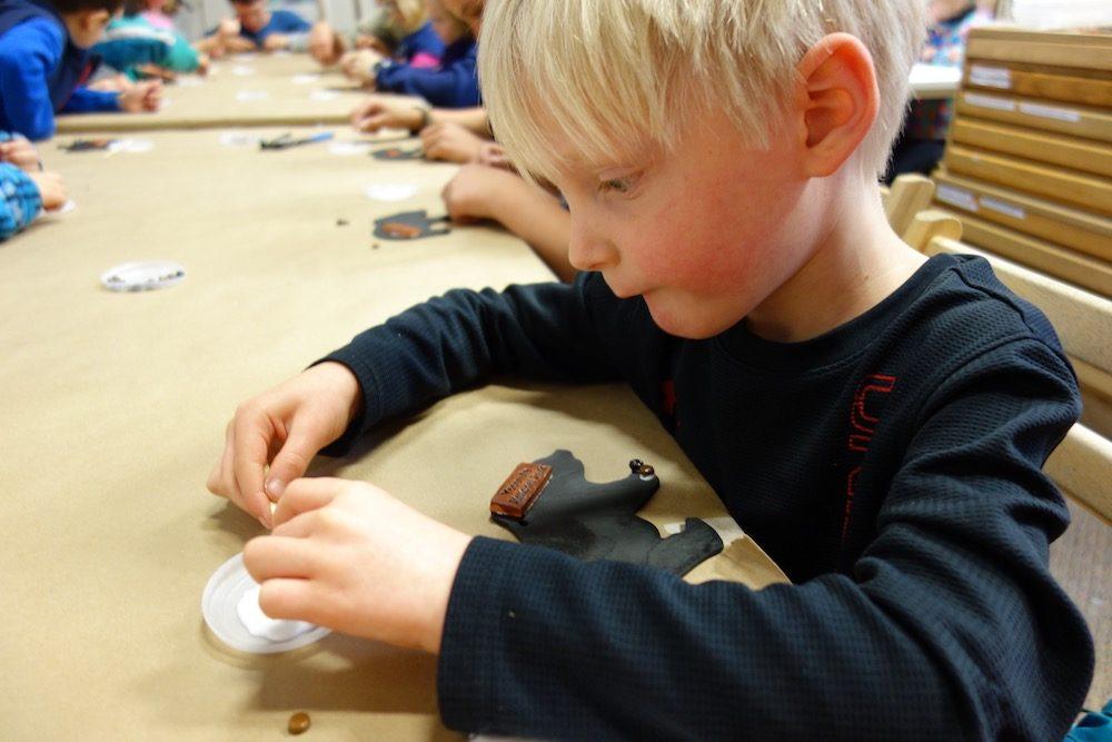 child at a mosaic workshop at yosemite national park