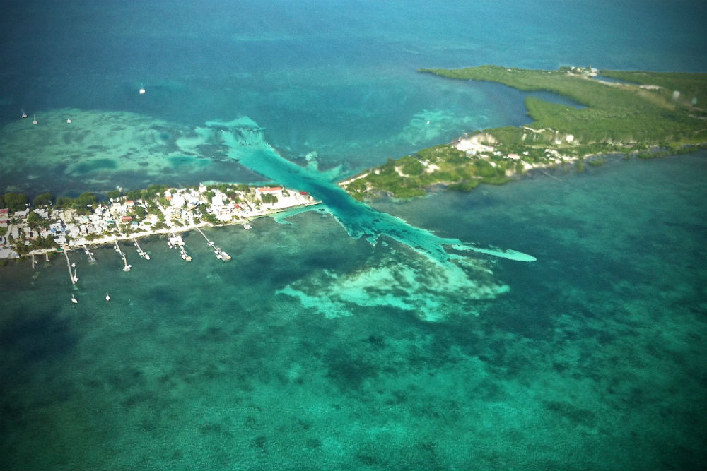 Belize coast aerial photo