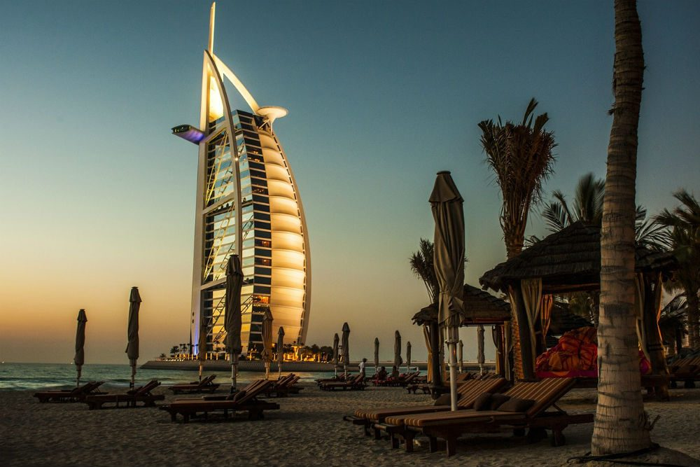 Burj Al Arab hotel and beach in Dubai
