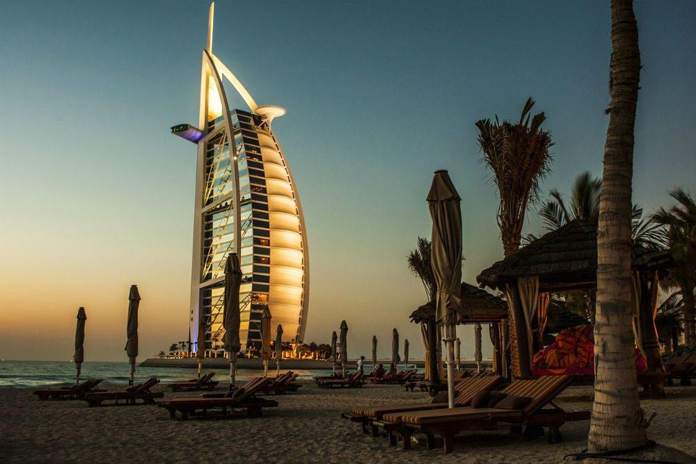 Burj Al Arab hotel and beach in Dubai