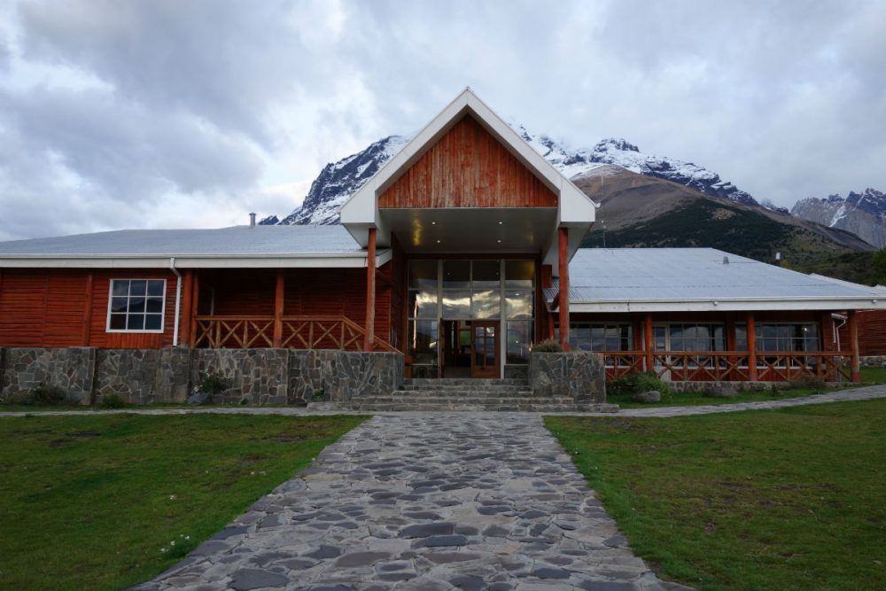The main entrance to Hotel Las Torres Patagonia, inside Chile's Torres del Paine National Park