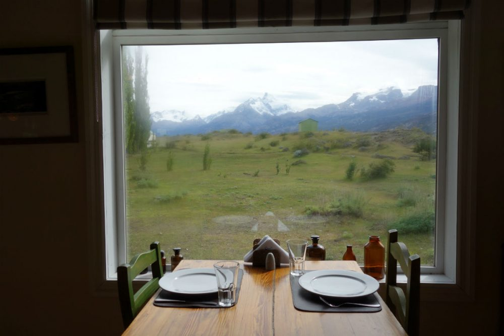 The view of the mountains from Estancia Cristina's dining room Patagonia