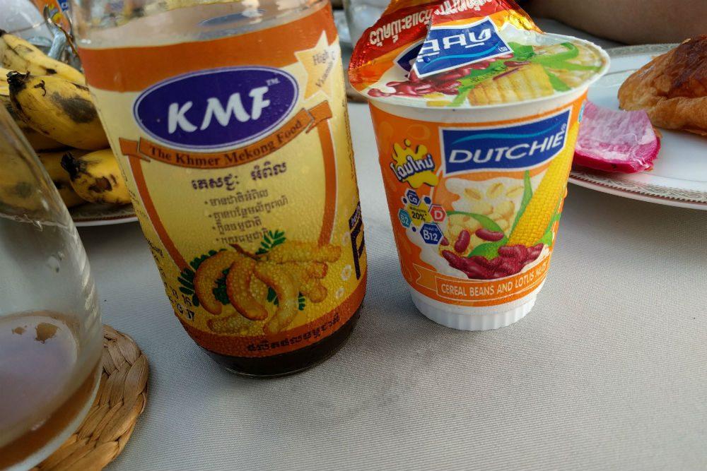 tamarind juice and lotus yogurt breakfast in Cambodia