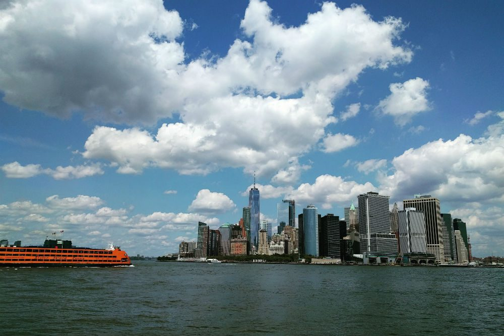 Manhattan skyline from Governors Island with Staten Island Ferry