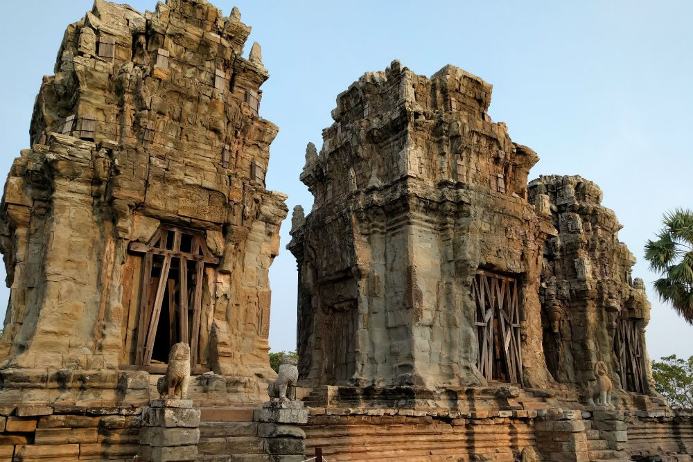 Phnom Krom temple ruins atop a small mountain outside Siem Reap Cambodia