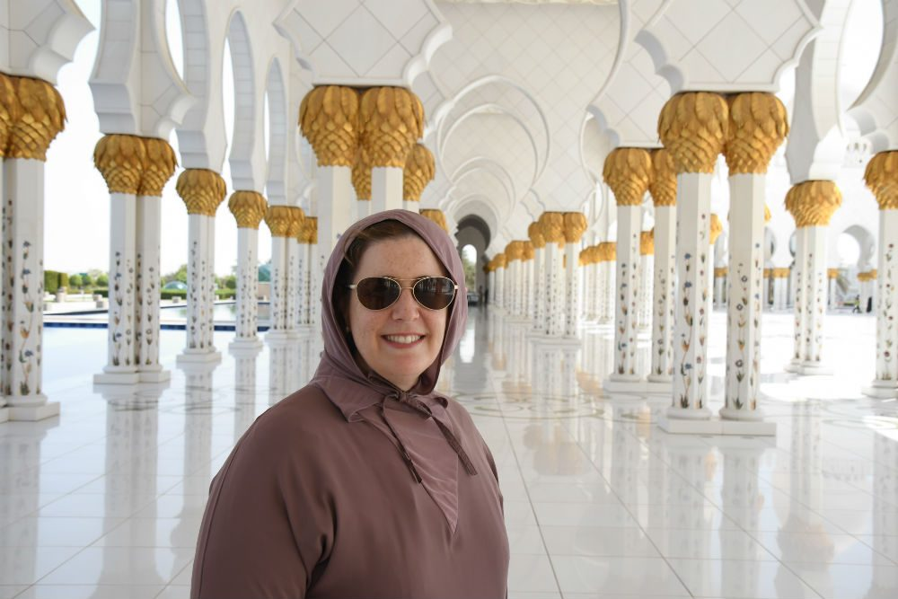 Wendy Perrin at Abaya Grand Mosque Abu Dhabi