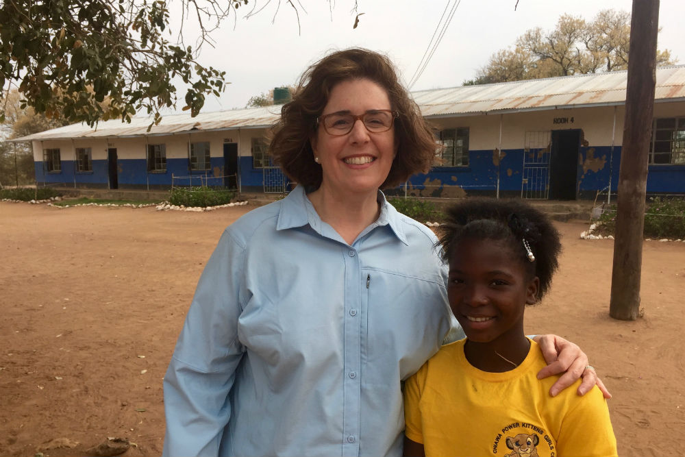 Wendy Perrin and young girl from Chiawa School in Zambia