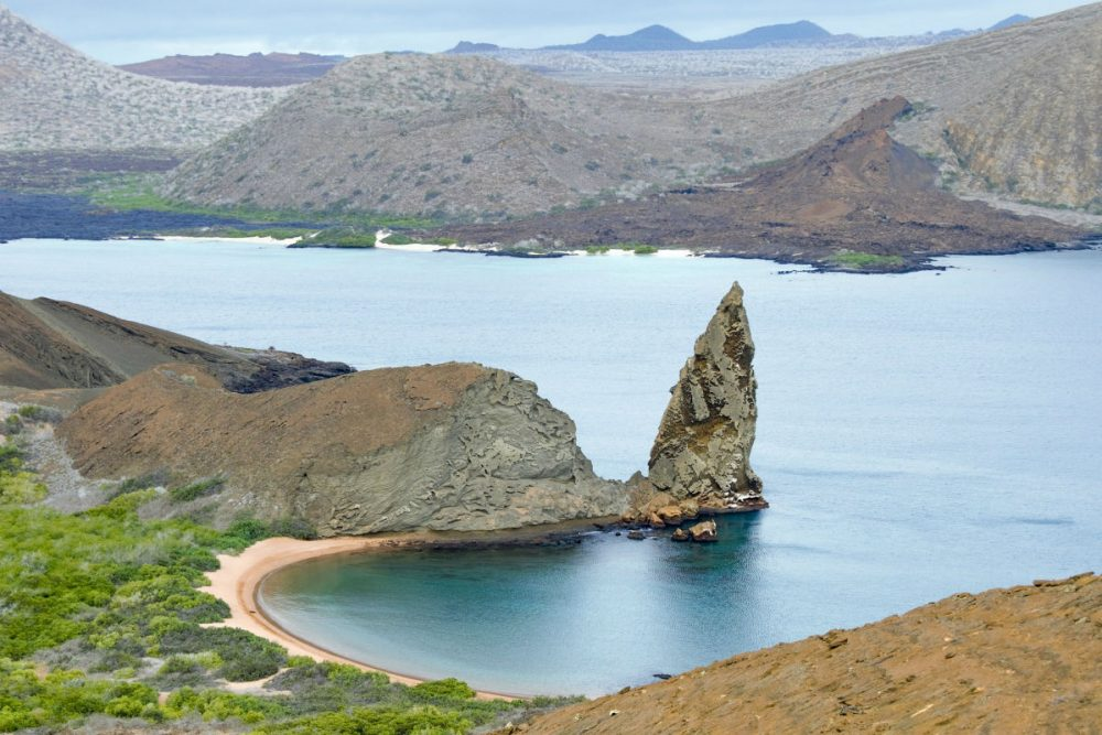 volcanic landscape and lake Galapagos Islands ecuador