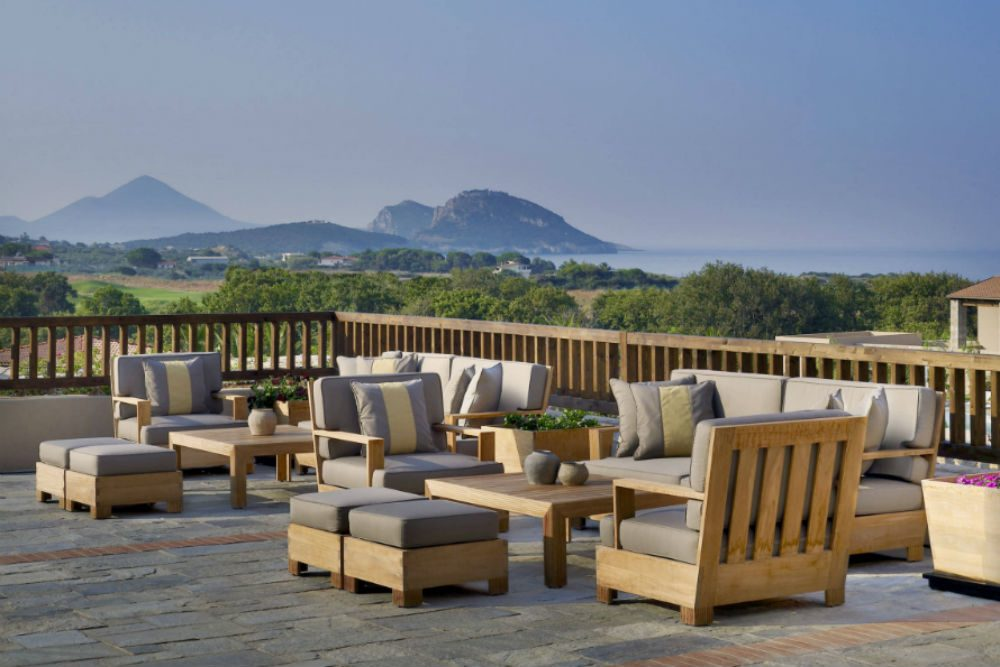 A view over Pylos, Greece from the rooftop bar of the westin resort costa navarino