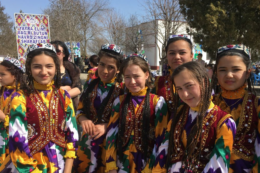 People dressed up in traditional costumes for Navruz holiday in Uzbekistan