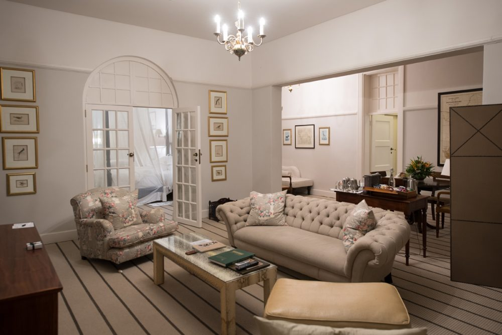 The Livingstone Suite's living room. Queen Elizabeth and Oprah Winfrey have stayed here.