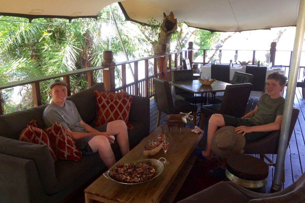 You eat in a comfy and elegant pavilion overlooking the Zambezi.