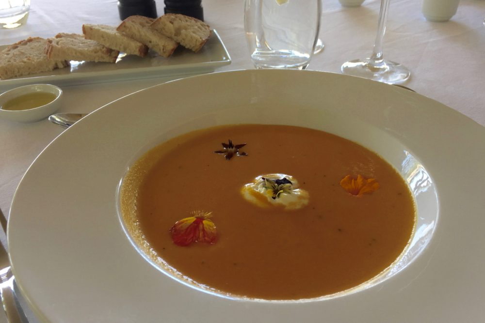 The appetizer: Carrot and Muchingachinga soup