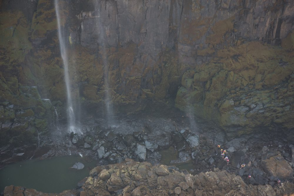 In dry season you can walk below the waterfall.