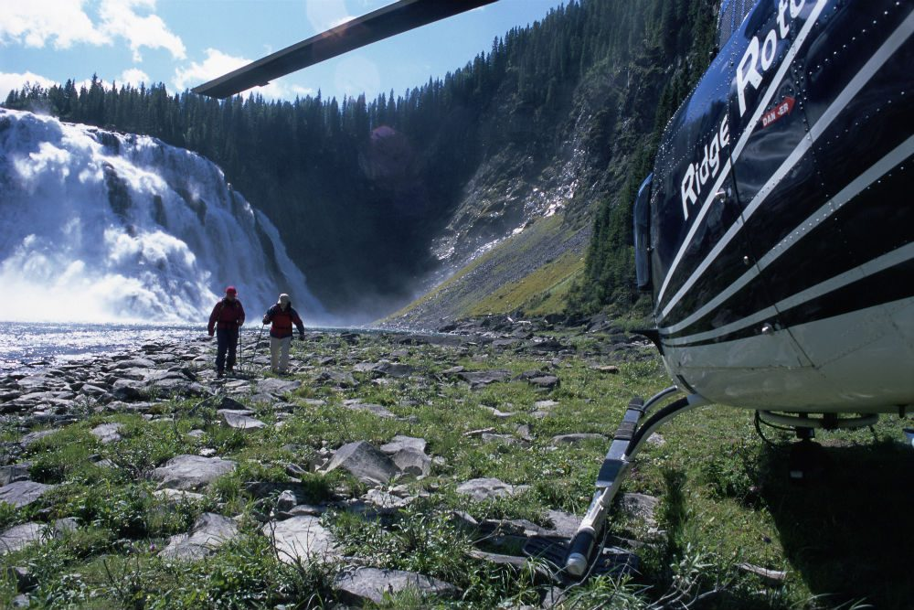 Heli-hiking at Kinuseo Falls in Monkman Provincial Park