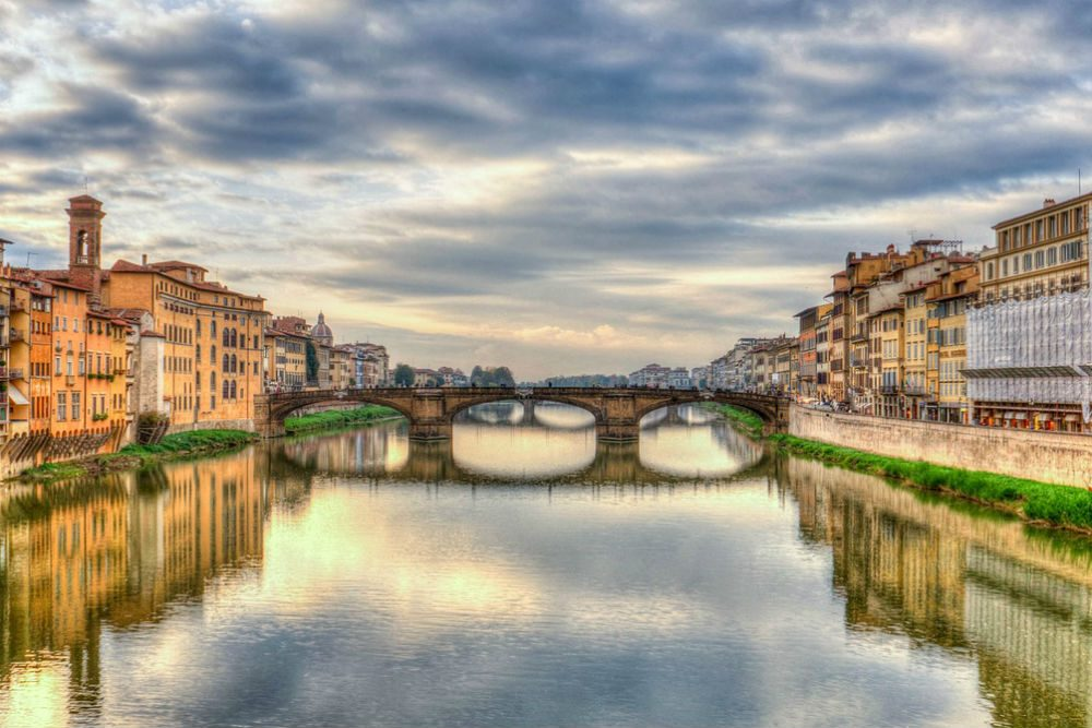 the Arno River running through Florence Italy