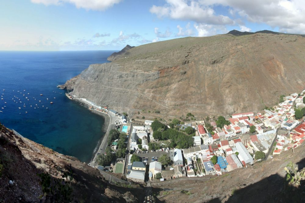 aerial view of Jamestown, St. Helena