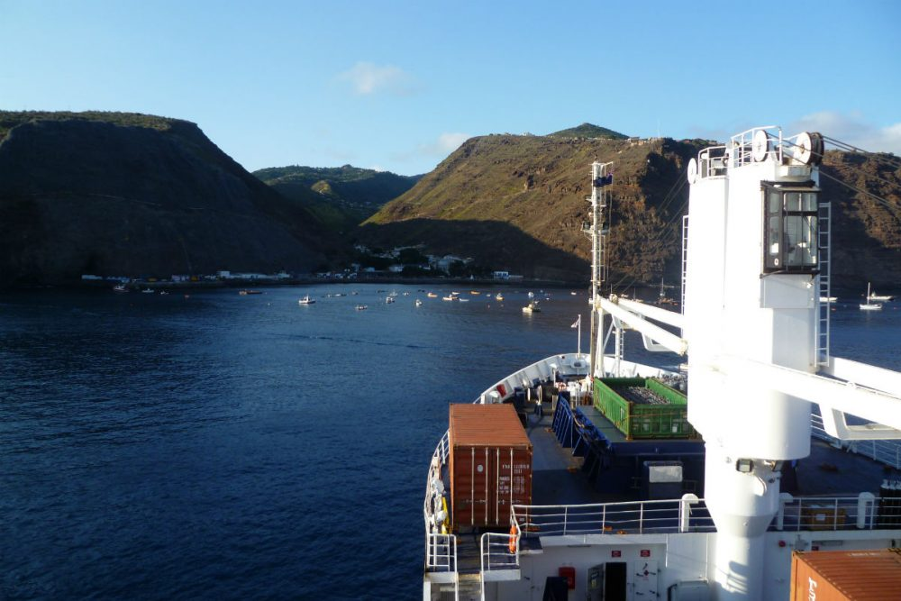 The RMS mail ship approaching St Helena island