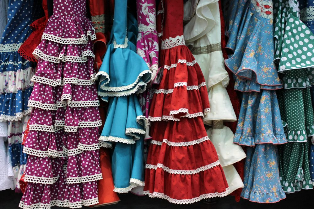 Flamenco dresses for spring festivals in Andalusia, Spain