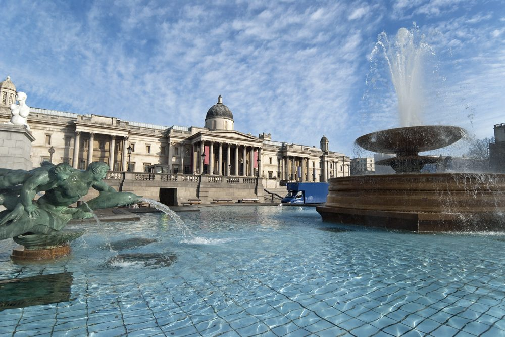 the fountain at the National Gallery in Trafalgar Square, London, England
