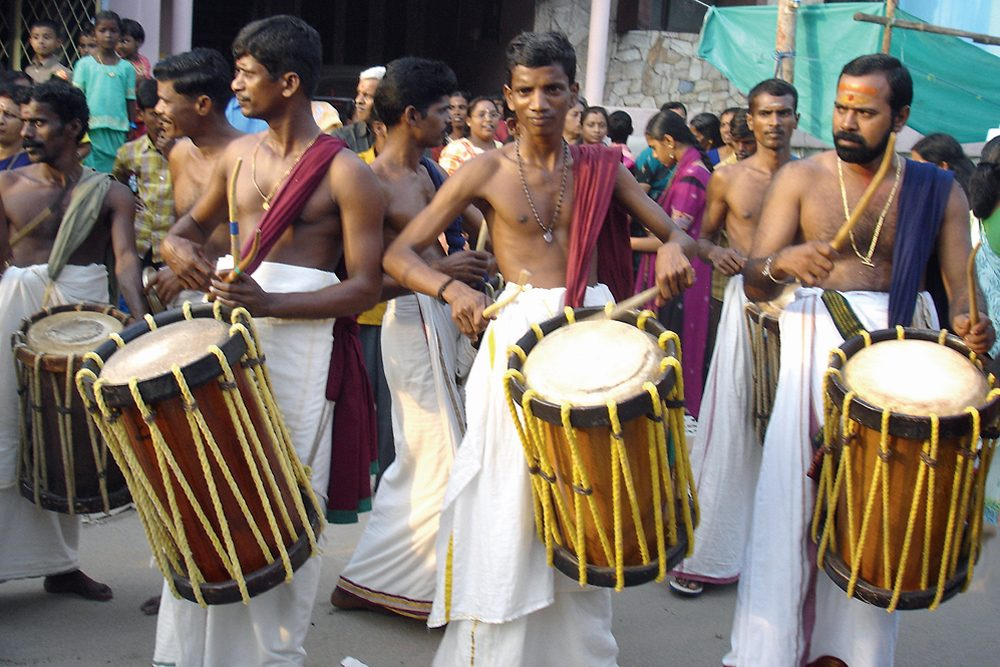 Drummers at the Kalapthy Festival in Kerala, India