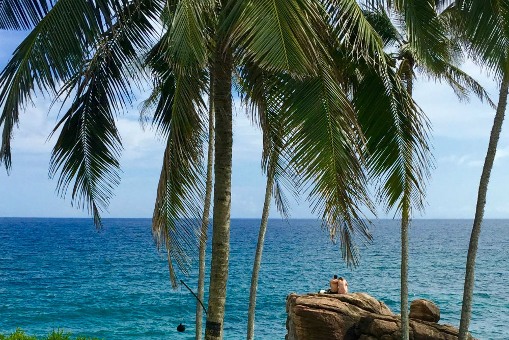 Tangalle Sri Lanka ocean view with palm trees