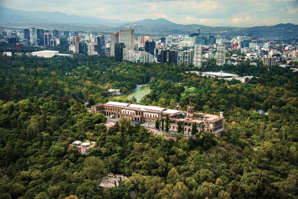 aerial view of Castillo de Chapultepec, Mexico City