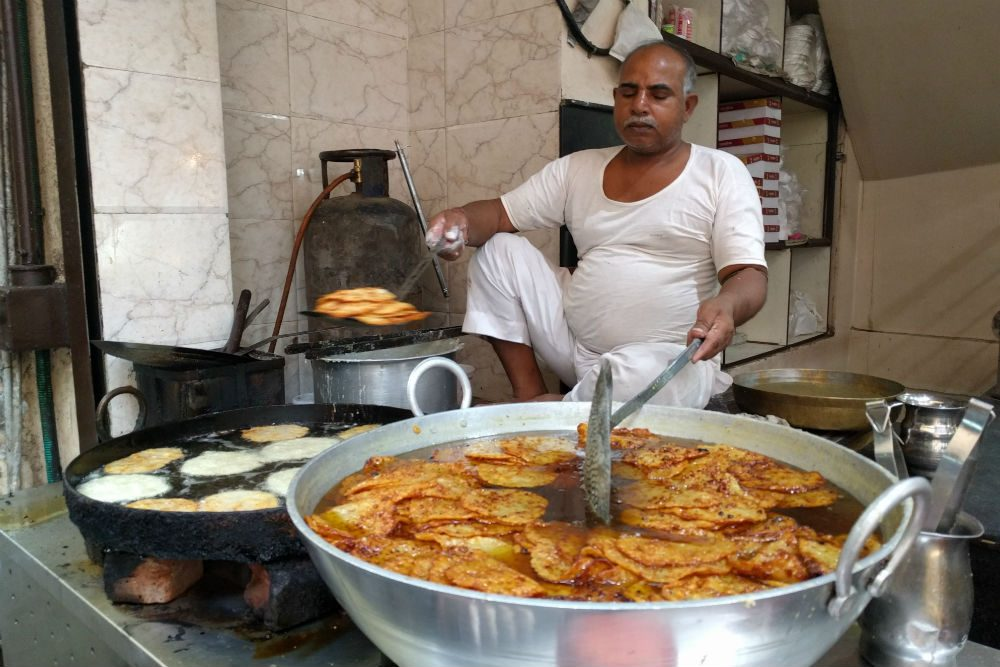 pancake street vendor in Pushkar India