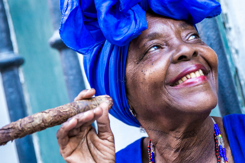 woman smoking cigar in Havana Cuba