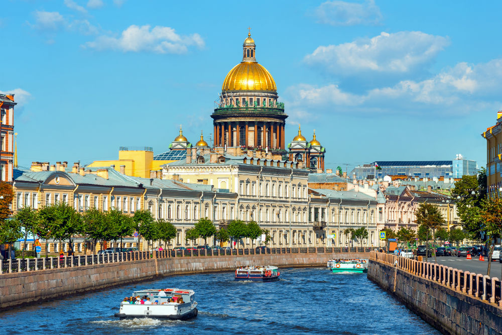 Saint Isaac Cathedral across Moyka river, St Petersburg, Russia