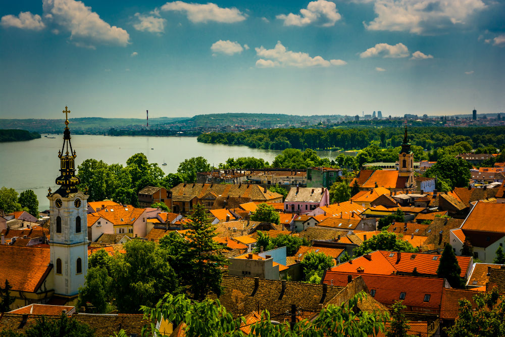 View over Belgrade Serbia and Danube river from above in Zemun